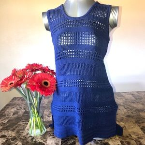 Blue Crochet High Low Hem Sleeveless Too
